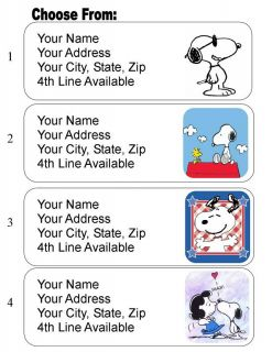 30 Snoopy Personalized Address Labels Peanuts
