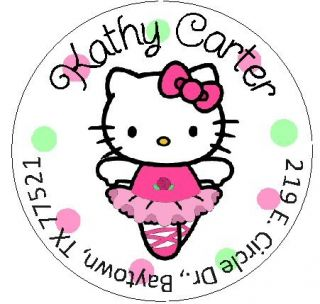 Hello Kitty Ballerina Round Return Address Labels