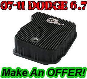 aFe Power Transmission Pan 68RFE Black Fins 07 5 11 Dodge Cummins 6 7L