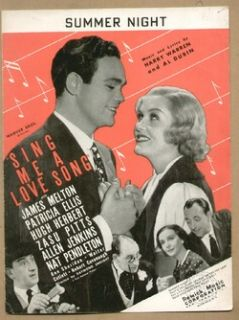 Sing Me A Love Song 1936 Summer Night James Melton Vintage Sheet Music