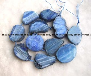 25x32mm Blue Stripe Agate Freeform Flat Loose Beads 15 5 High Quality