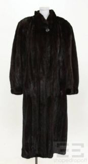 adolfo dark brown mink fur full length coat size 28