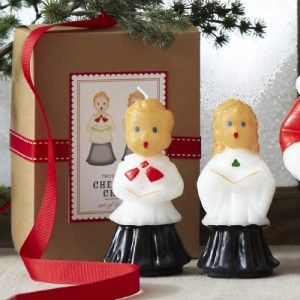 New Christmas Vintage Inspired Cheerful Choir Boy Girl Candle Set 9984