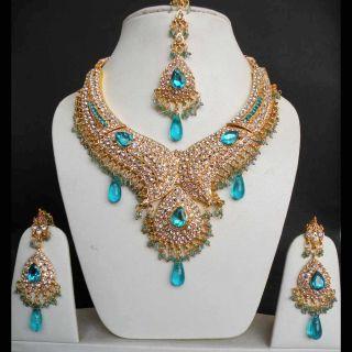 Indian Jodha Akbar Heavy Gold Plated Kundan Bridal Sari Jewelry Bib
