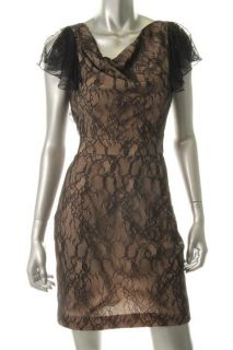 Aidan Mattox Black Lace Ruffle Sleeve Floral Print Cowl Neck Evening