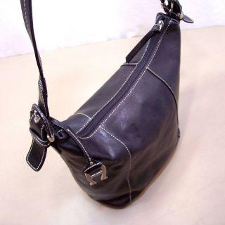 Aigner Black Leather Hobo Shoulder Bag Feet on Bottom Handbag