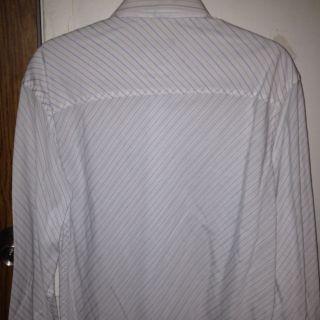 Alfani Men Shirt White with Stripes Blue