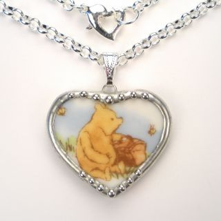 WINNIE THE POOH BEAR VINTAGE HEART CHARM PENDANT NECKLACE BROKEN CHINA