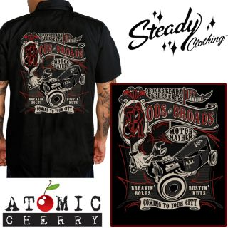 Steady Rods Broads Work Shirt Rockabilly Punk Retro Cool New Hot Rod