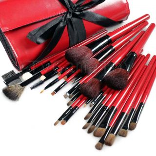 New 30 Pcs Makeup Eye Shadow Cosmetic Brush Set with Bag Hot Red 30x