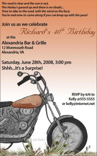 Motorcycle Bike Harley Biker Birthday Party Invitations