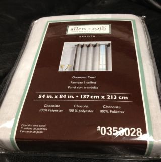 Allen Roth BARISTA Grommet Panel Drape Curtain White Sheer Chocolate
