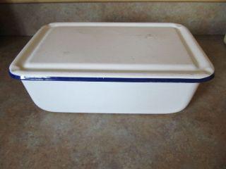 Vintage Enamel Ware Graniteware Bread Box Refrigerator Dish Box Cobalt