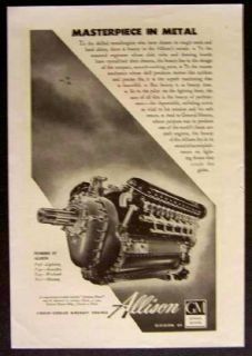 GM Allison Aircraft Engine 1943 Vintage Ad Masterpiece in Metal