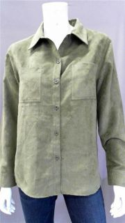 Allison Morgan Misses M Suede Button Down Top Dark Olive Green Solid