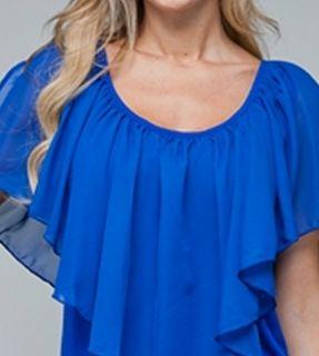 Size 3X TANK TOP SHIRT Womens Plus SHORT SLEEVE Blue ROMAN FASHION NWT