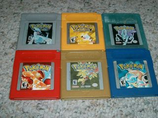 red yellow blue silver gold crystal version all 6 games game boy