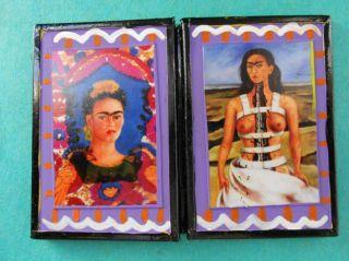 NEW FRIDA KAHLO HAND PAINTED COSMETIC POCKET MIRROR, MEXICAN FOLK ART