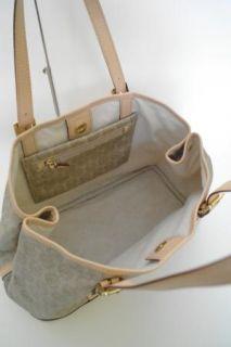 New Michael Kors Amagansett Monogram Coated Beige PVC Tote Handbag