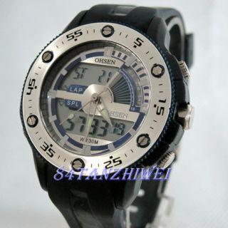 New LED Quartz ALM Stop Analog Digital Mens Wrist Watch