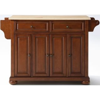 ALEXANDRIA KITCHEN ISLAND IN CLASS CHERRY WITH NATURAL WOOD TOP