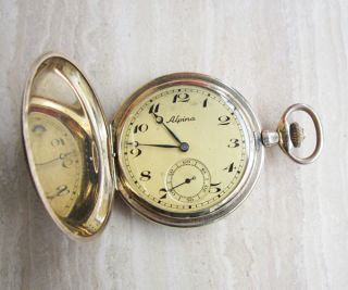 Alpina Union Horlogere Hunter Case Pocket Watch Double Gold Art Deco