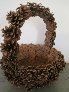 American Folk Art Large Handmade Pinecone Gathering Woven Basket w