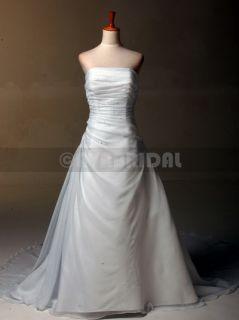 W769 ALINE STRAPLESS CATHEDRAL TRAIN CHIFFON WEDDING DRESS SIZE 12 OR
