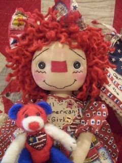 Primitive Raggedy Ann Doll All American Girl Prim Bear