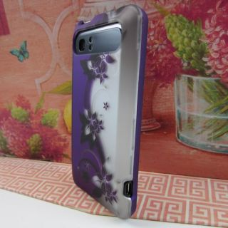 Purple Silver Vine Flower Hard Case Phone Cover for HTC Vivid Raider