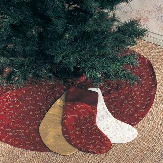 Ari Embroidery Elegant Burgundy Holiday Christmas Tree Skirt. 52 Rd