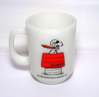 Snoopy Red Baron Fire King Anchor Hocking Glass Mug
