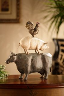 American Folk Art Trio Cow Pig Rooster Sculpture Statue