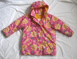 Hanna Andersson Girls Pink Floral Winter Coat Jacket 120 6 7 8