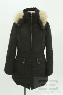 andrew marc black down fox fur trim hooded coat