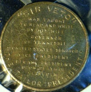 Andrew Johnson Mint Version 2 Commemorative Bronze Medal Token Coin