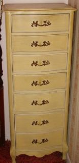 Vintage Wood Lingerie Chest 7 Drawer French Provincial Victorian Tall