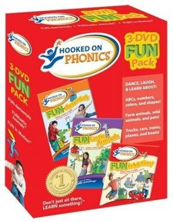 Hooked on Phonics 3 DVD Fun Set 3 DVDs Let Your Kids Have Fun Learn to