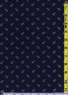 Fabric Dear Stella Small White Anchors Tossed on Navy Blue Sailing