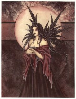 Amy Brown Print Fairy Dark Angel Black Feather Wings