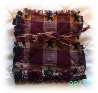 PRIMITIVE HOMESPUN AMERICANA STAR Rag Coasters