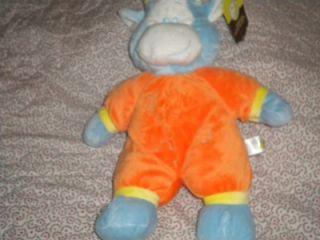 Animal Adventure Baby Blue and Orange Plush Cow Stuffed Animal Toy Boy