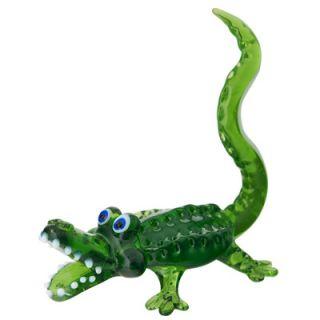 Everglades Animal Alligator Gator Art Glass Jewelry Ring Holder Stand