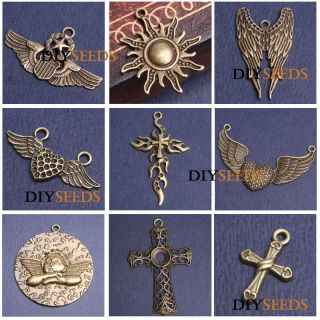 Antique Brass Cross Angel Religious Jewelry Findings Charm Pendant