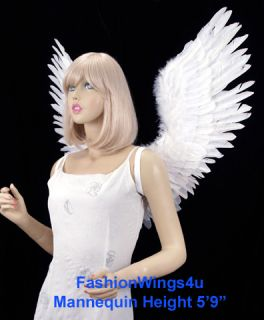 Open Swing White Feather Angel Wings Fairy Swan Bird Costume