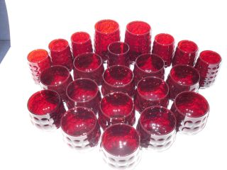 Anchor Hocking Ruby Red Bubble 22 Glasses Tumblers Juice Old Fashion