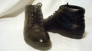 Vintage Black Leather Ankle Boots Lace Up Flat 10 M