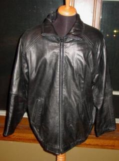 Mens Andrew Marc Black Leather Motorcycle Biker Riding Jacket M Great