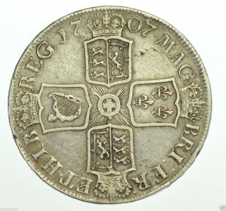 1707 E Crown from Anne British Silver Coin VF