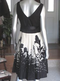 Anne Klein New York Black White Box Pleat Evening Party Cocktail Dress